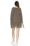 Kaki Oversized Cotton Dress With Lace Insertions