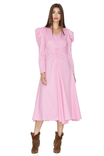 Pink Midi Dress With Oversized Shoulders - PNK Casual