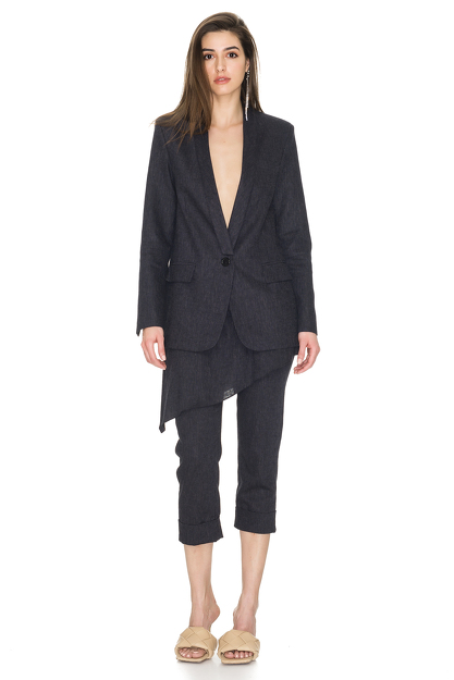Black Striped Linen-Blend Blazer