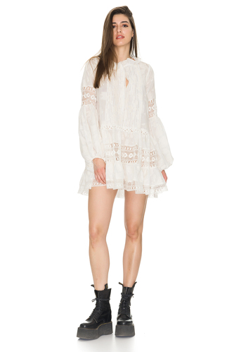 White Mini Dress With Cotton Lace Insertions - PNK Casual