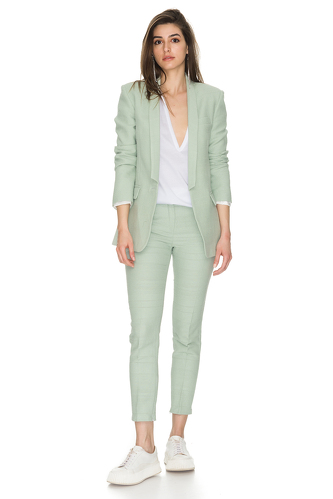 Classic Light Green Cotton Blazer - PNK Casual