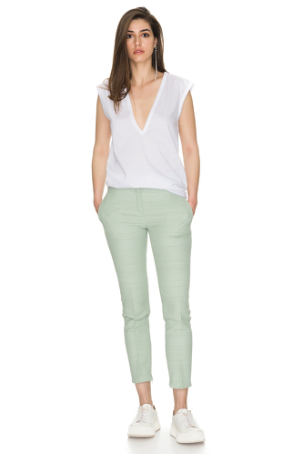 Light-Green Casual Cotton Pants - PNK Casual