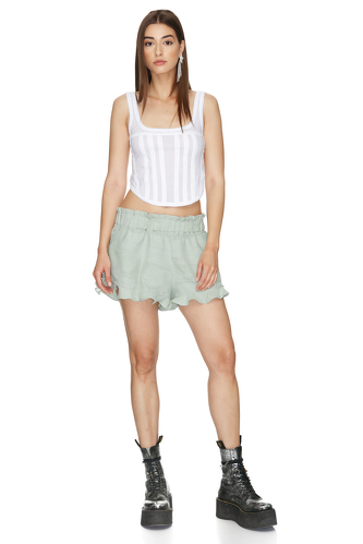 Light-Green Cotton Boho Shorts - PNK Casual