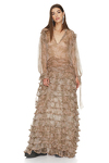 Ruffled Flared Printed Brown Silk Maxi Dress