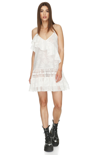White Mini Dress With Lace Insertions And Straps - PNK Casual