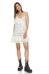 White Mini Dress With Lace Insertions And Straps