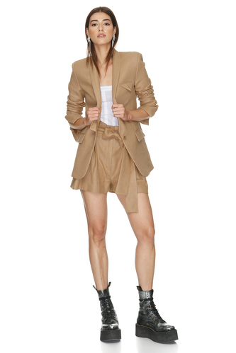 Classic Brown Ramie-Viscose Blend Blazer - PNK Casual