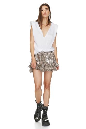 Printed Brown Glossy Silk Shorts - PNK Casual