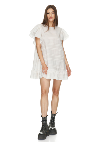 White Oversized Mini Dress With Ruffles - PNK Casual