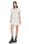 White Oversized Mini Dress With Ruffles
