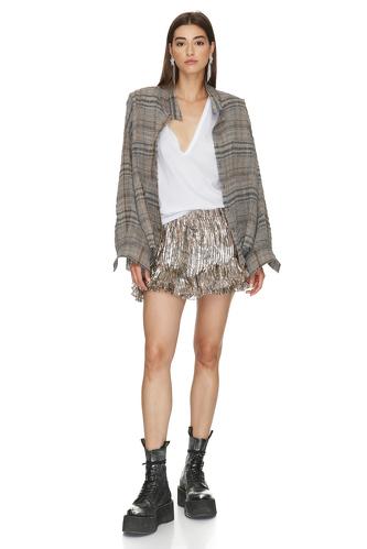 Linen oversize checkered shirt - PNK Casual