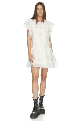 White Cotton Dress With Lace Hem - PNK Casual
