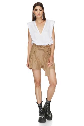 Brown Viscose-Ramie Blend Shorts - PNK Casual