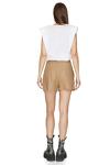 Brown Viscose-Ramie Blend Shorts