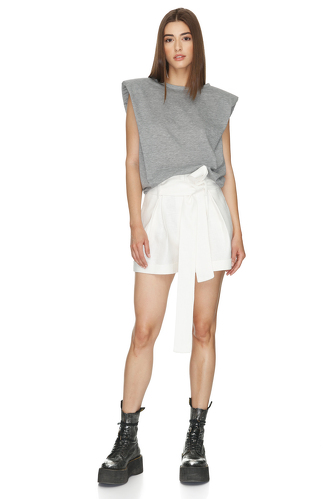 White Viscose-Ramie Blend Shorts - PNK Casual