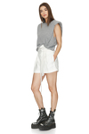White Viscose-Ramie Blend Shorts