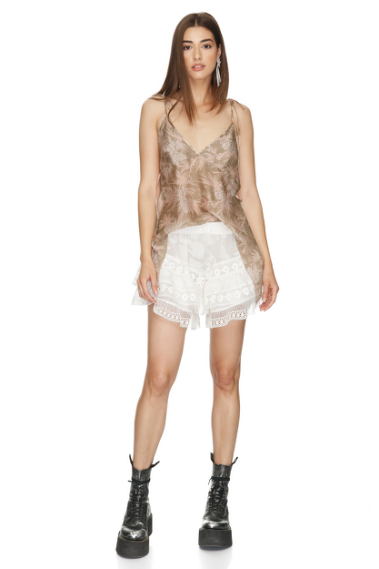Off-White Cotton With Lace Insertions Shorts