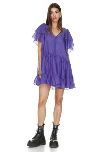 Relaxed Fit Purple Mini Dress - PNK Casual