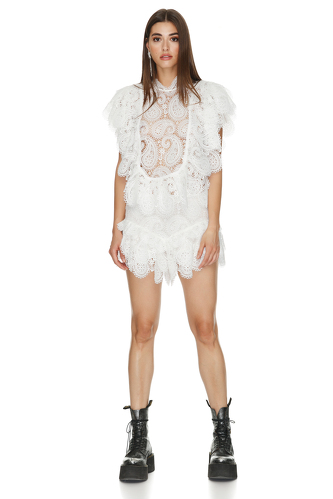 White Floral Lace Blouse - PNK Casual