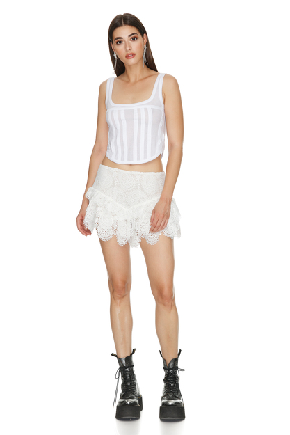 White Crocheted Lace Shorts
