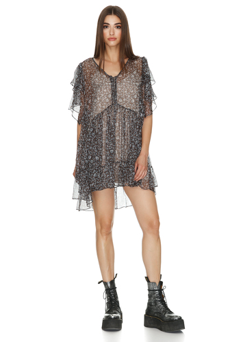 Relaxed Fit Printed Silk Mini Dress - PNK Casual