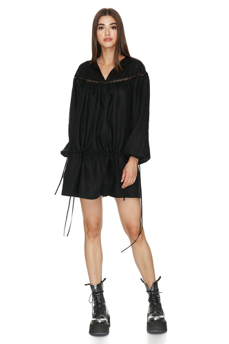 Mini Linen Black Dress With Lace Insertions - PNK Casual