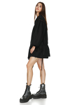 Mini Linen Black Dress With Lace Insertions