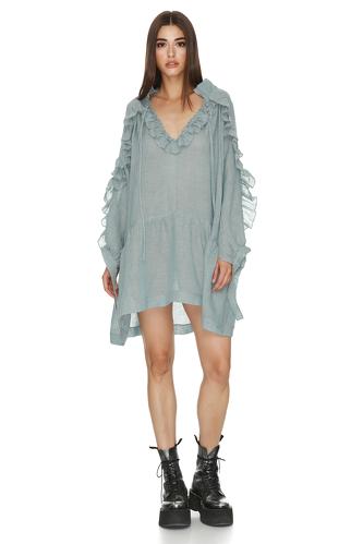 Grey Green Mini Dress With Ruffles - PNK Casual