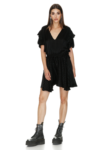 Black Mini Dress With Ruffles - PNK Casual