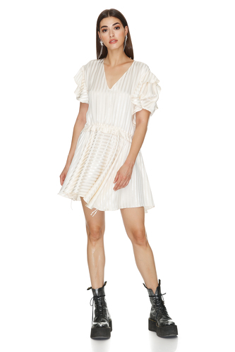 Off-White Viscose Mini Dress - PNK Casual