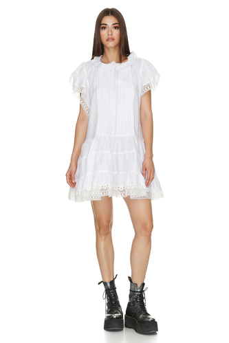 White Linen Dress With Lace Hem - PNK Casual