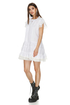 White Linen Dress With Lace Hem