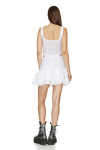Linen White Skirt With Crocheted Hem