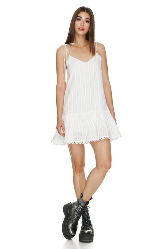 White Cotton Mini Dress With Crocheted Hem and Straps - PNK Casual