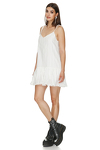 White Cotton Mini Dress With Crocheted Hem and Straps