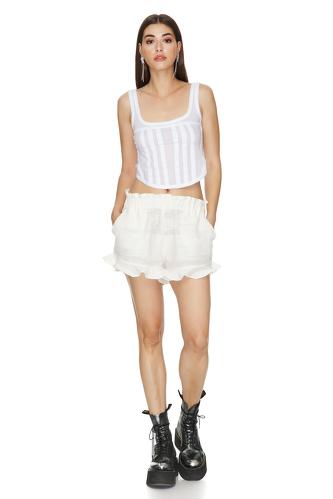 Off White Boho Shorts With Elasticated Waistband - PNK Casual