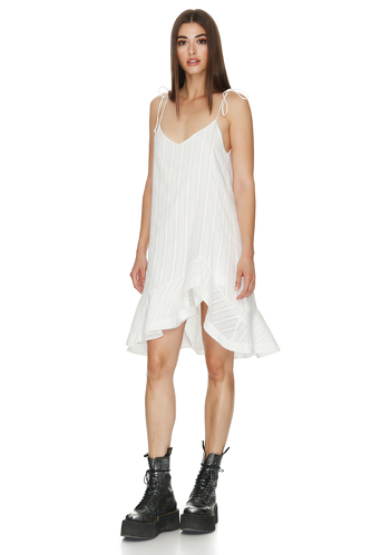 White Asymmetrical Ruffle Cotton Dress - PNK Casual