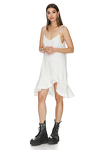 White Asymmetrical Ruffle Cotton Dress