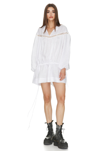 Mini Linen White Dress With Lace Insertions - PNK Casual