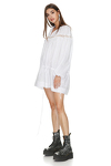 Mini Linen White Dress With Lace Insertions
