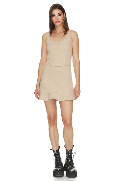 Cotton-Blend Scuba Mini Dress