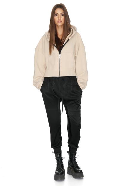 Long Sleeve Zipped Cotton Blend Scuba Hoodie
