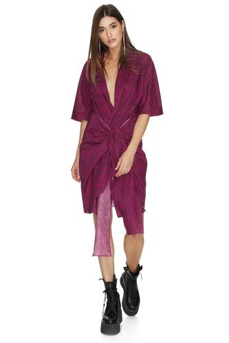 Fuchsia Wrap Cotton Mini Dress - PNK Casual