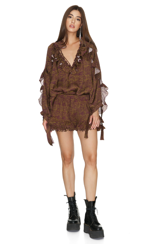 Brown Cotton Shorts With Crocheted Hem - PNK Casual