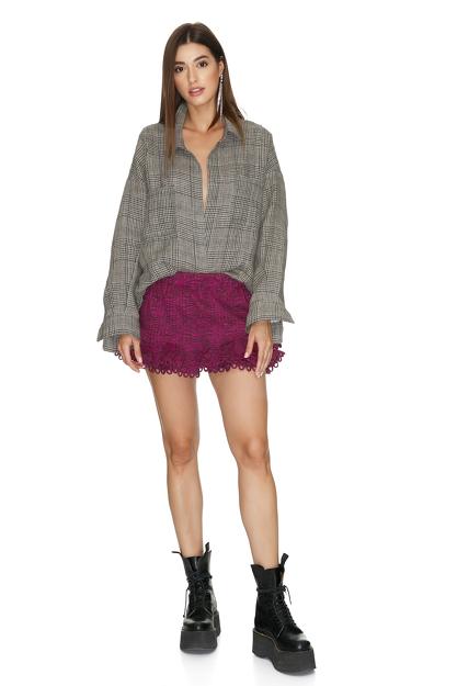 Fuchsia Cotton Shorts With Crocheted Hem
