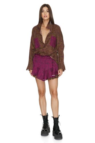 Fuchsia-Brown Boho Shorts - PNK Casual