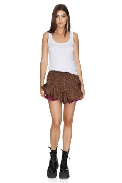 Brown-Fuchsia Boho Shorts