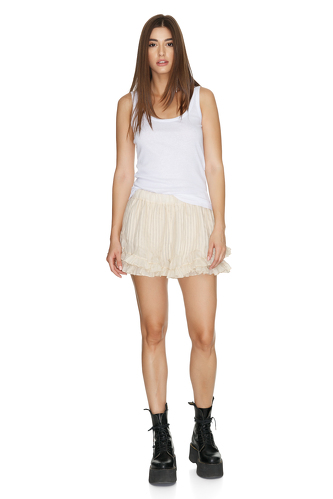 Cotton Off-White Shorts - PNK Casual