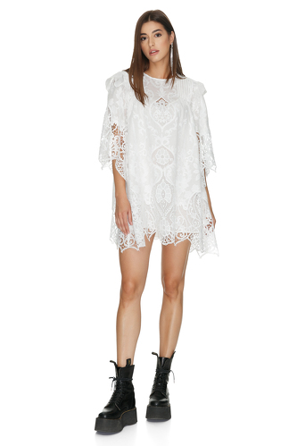 White Crocheted Cotton Mini Dress - PNK Casual
