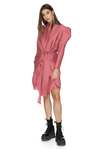 Dusty Pink Wrap Dress With Oversized Shoulders - PNK Casual